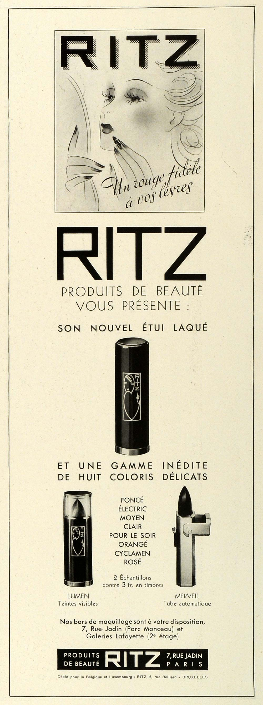 1938 Ad Ritz Beauty Cosmetics Lipsticks Colors Rouge Makeup Ladies Paris ILL5