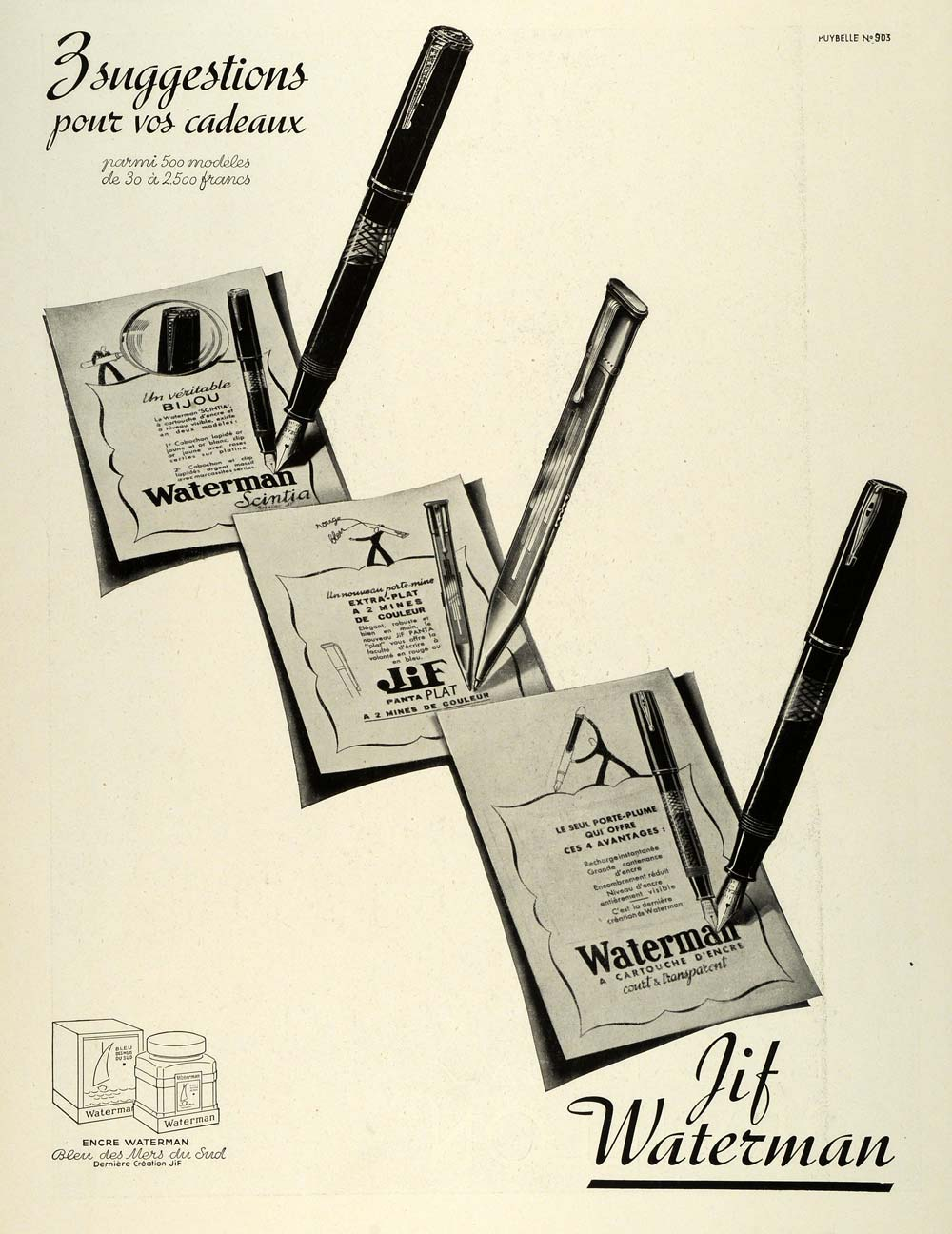 1938 Ad JiF Waterman French Fountain Ball Point Pens Gifts Presents Ink ILL5