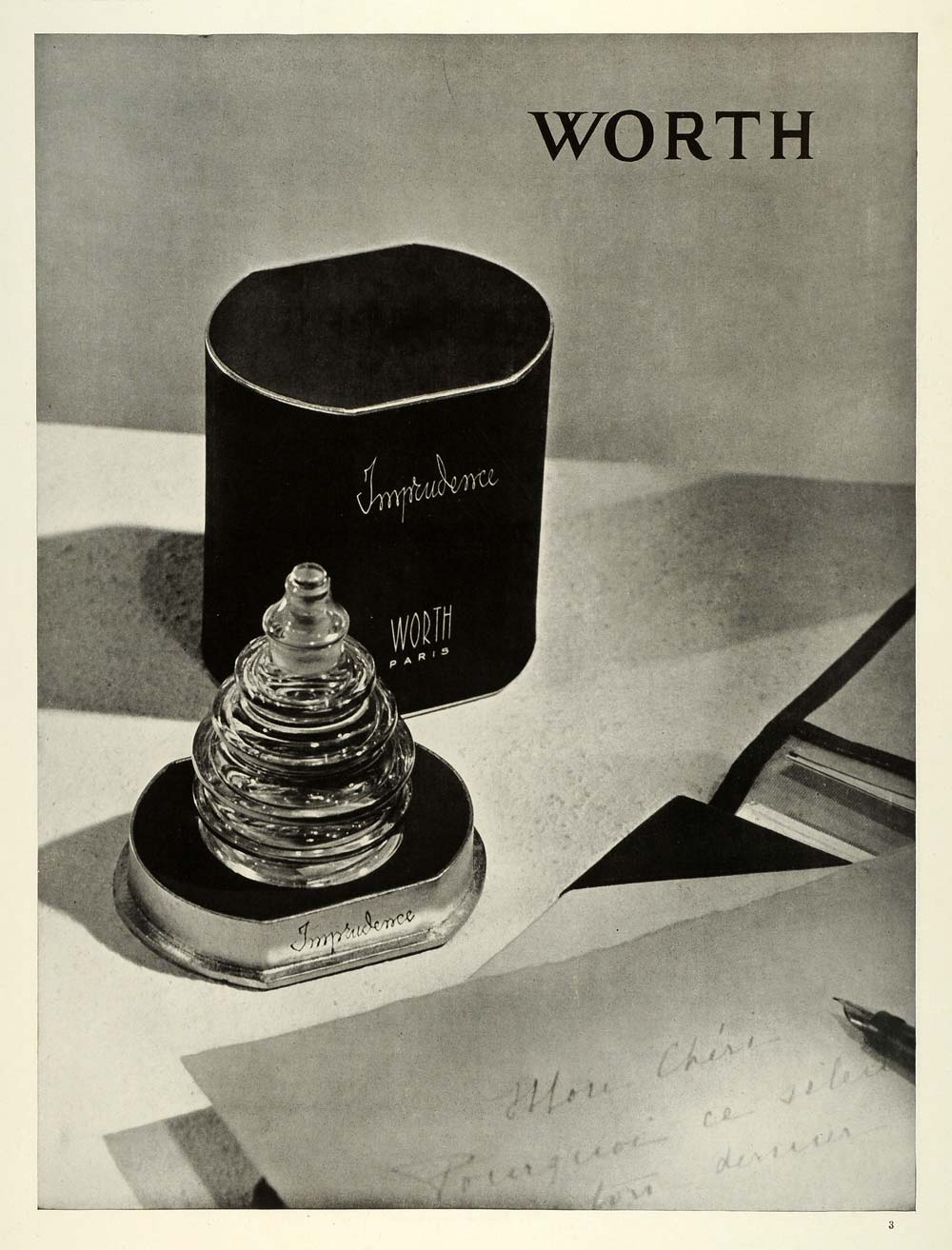 1938 Ad Worth French Perfumes Imprudence Scent Paris France Bottle Beauty ILL5