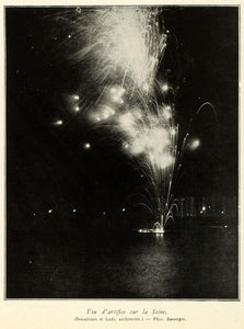 1937 Print Paris Exposition Fireworks Display Seine River Feux d'Artifice ILL7