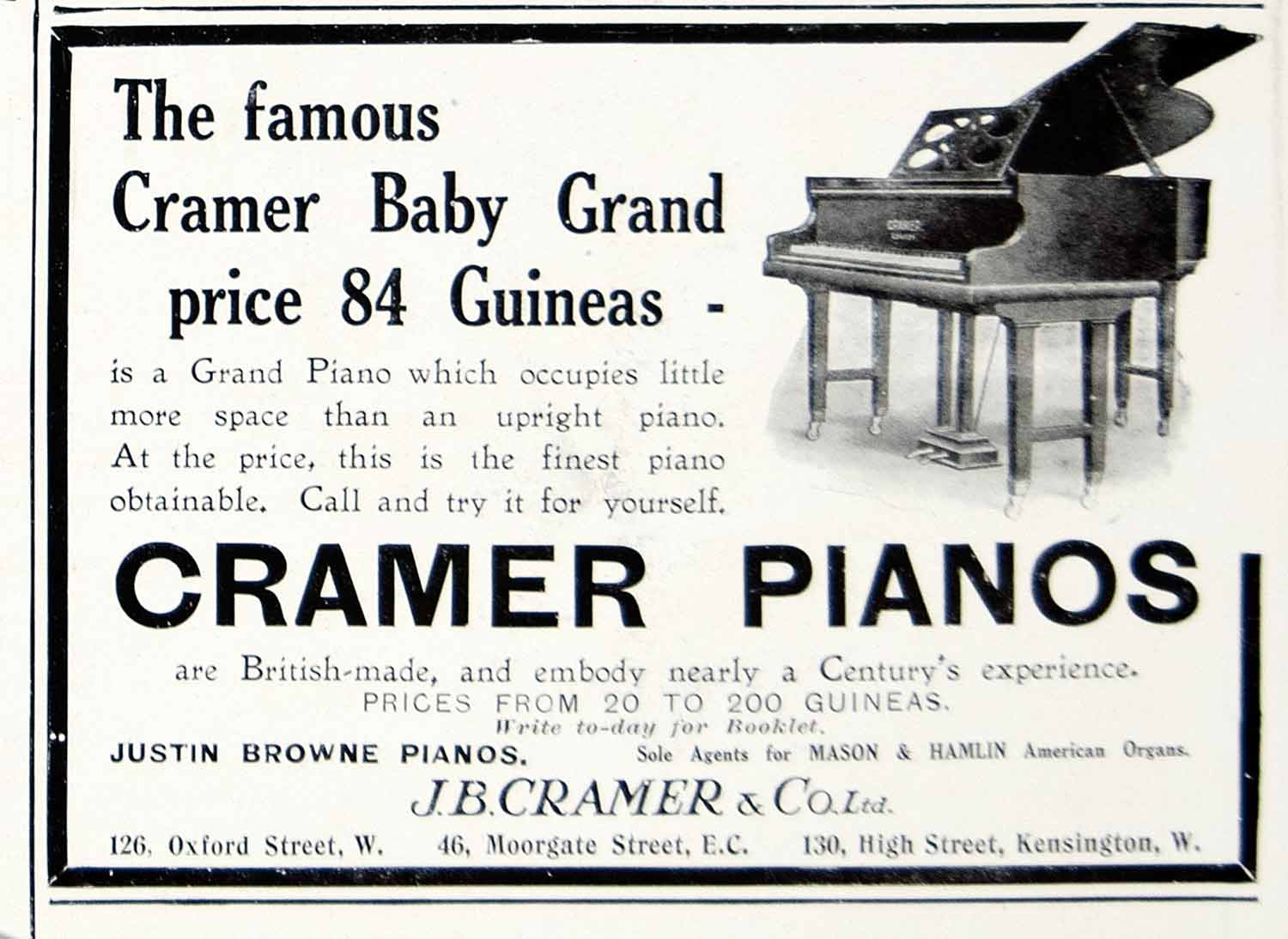1911 Ad Justin Browne Cramer Baby Grand Pianos Musical Instruments London ILN2