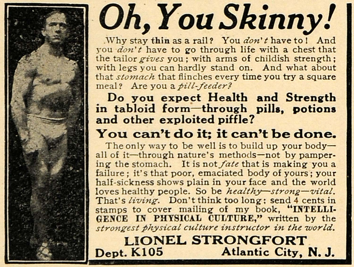1915 Ad Lionel Strongfort Muscle Skinny Development Atlantic City Treatment ILW1
