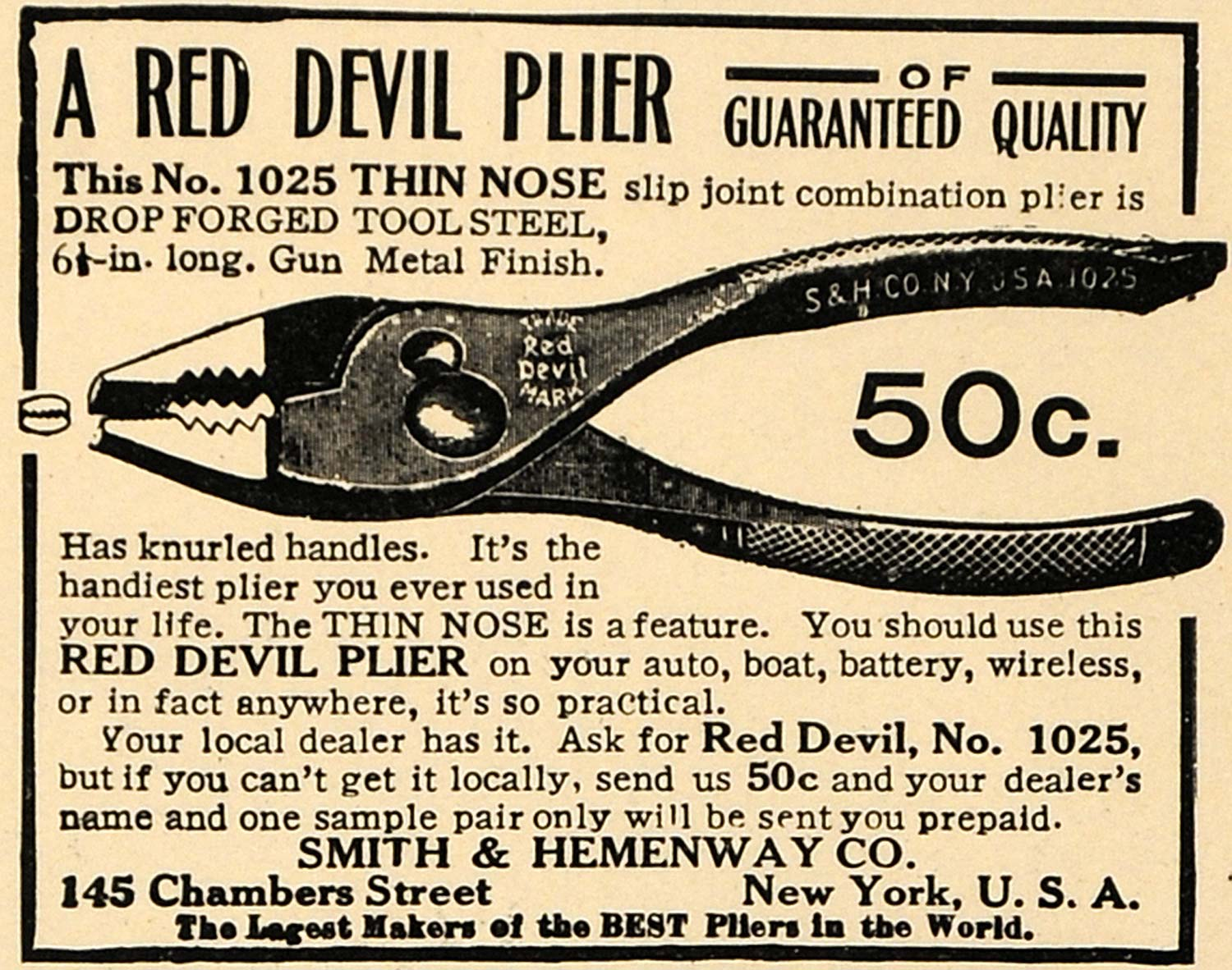 1915 Ad Smith & Hemenway Co. Red Devil Plier Tools - ORIGINAL ADVERTISING ILW1