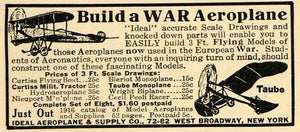 1915 Ad Ideal Aeroplane & Supply Co War Plane Taube Toy - ORIGINAL ILW1