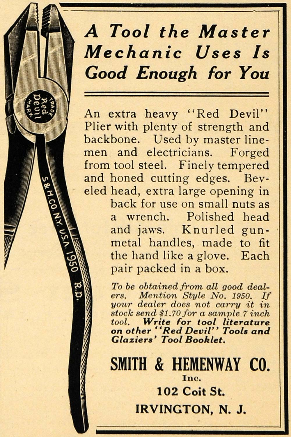 1917 Ad Smith & Hemenway Co. Red Devil Plier Tools - ORIGINAL ADVERTISING ILW1