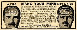 1921 Ad Make Your Mind Not A Pile Henry Dickson Memory - ORIGINAL ILW1
