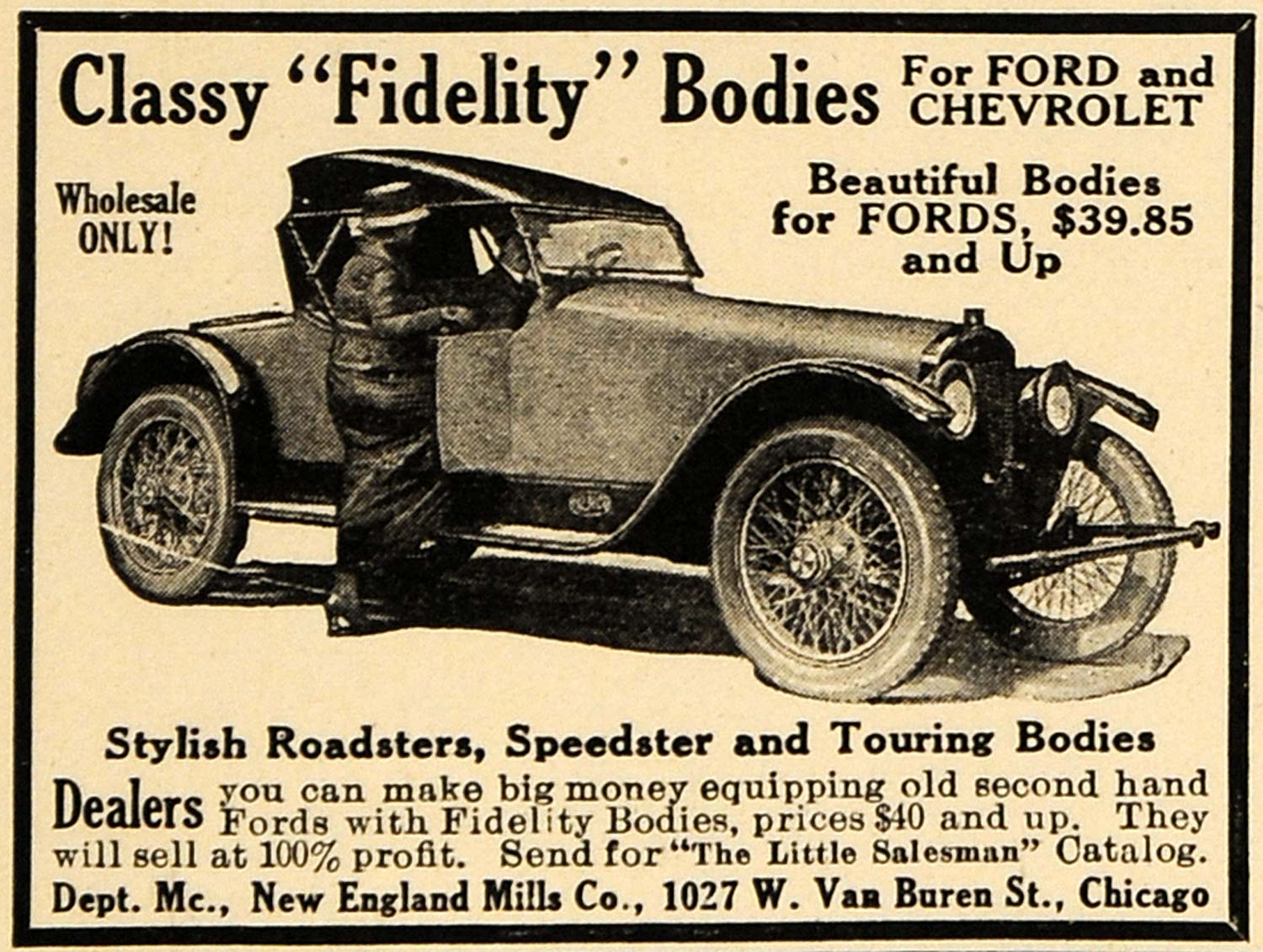 1921 Ad Ford Chevrolet Fidelity Body Roadster Speedster - ORIGINAL ILW1