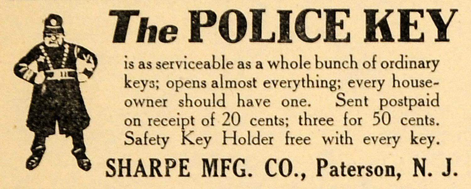 1920 Ad Sharpe Manufacturing Police Key Opens All Doors - ORIGINAL ILW1