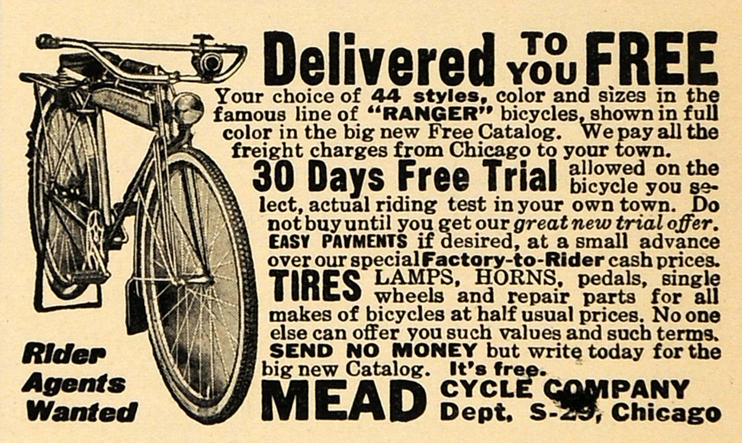 1920 Ad Mead Cycle Company Trial For Ranger Bicycle - ORIGINAL ADVERTISING ILW1