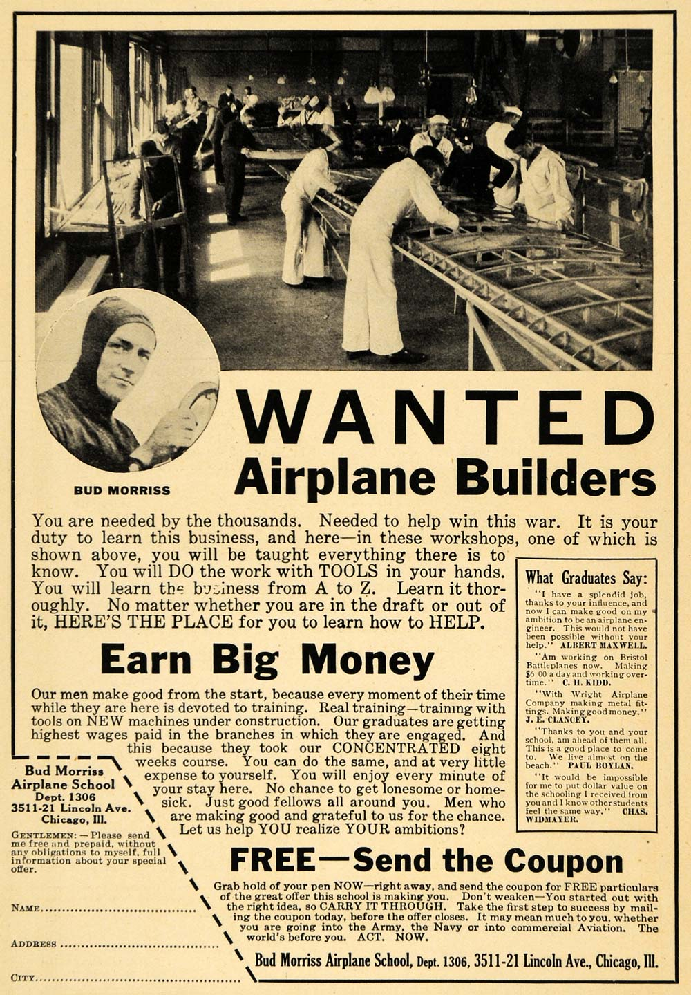 1918 Ad Airplane Builders Wanted Bud Morriss C. H. Kidd - ORIGINAL ILW1