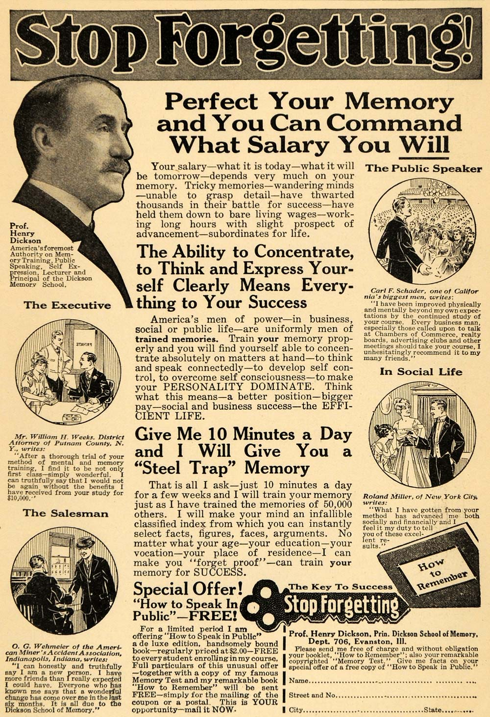 1923 Ad Prof. Henry Dickson Perfect Your Memory Booklet - ORIGINAL ILW1