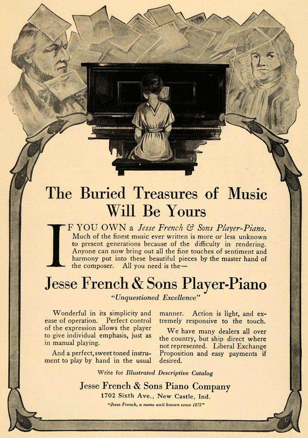 1916 Ad Jesse French Player-Piano Instrument Composers - ORIGINAL ILW1