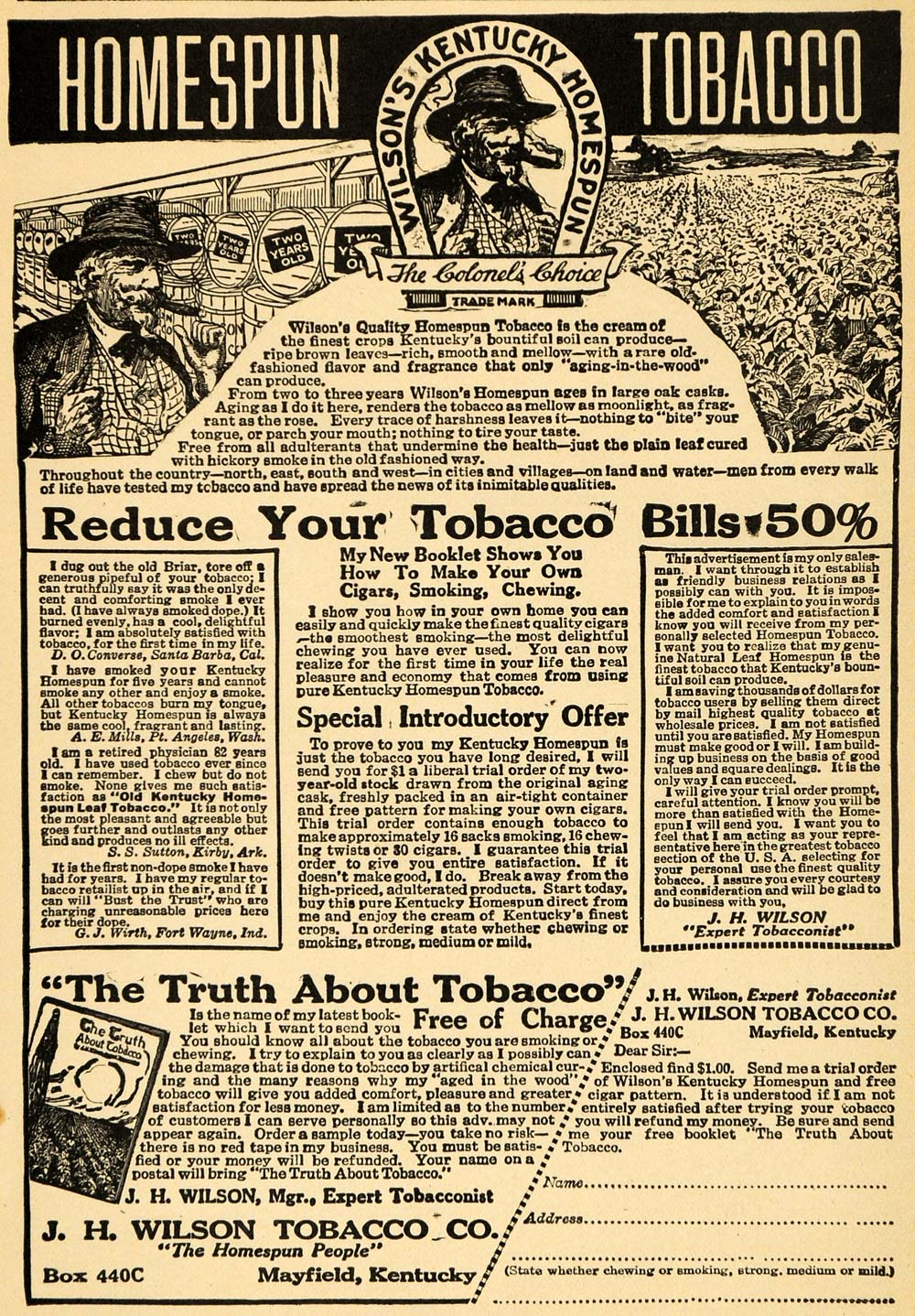1919 Ad J. H. Wilson Tobacco Kentucky Homespun Colonel - ORIGINAL ILW1