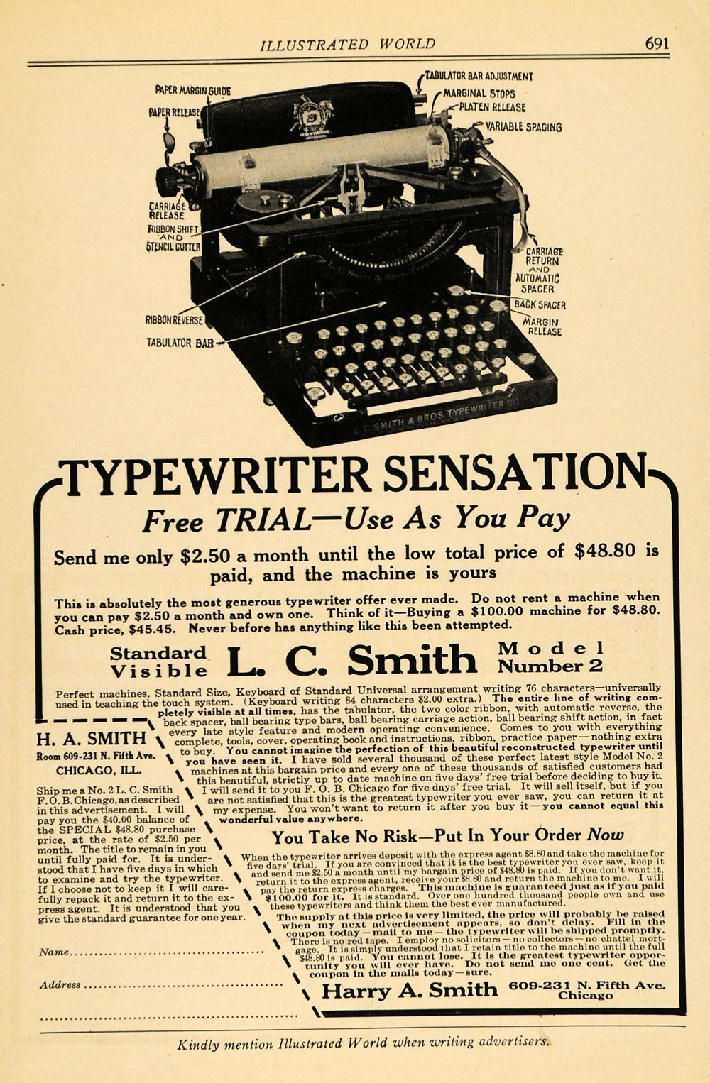 1916 Ad Harry A. Smith L. C. Model Number 2 Typewriters - ORIGINAL ILW1