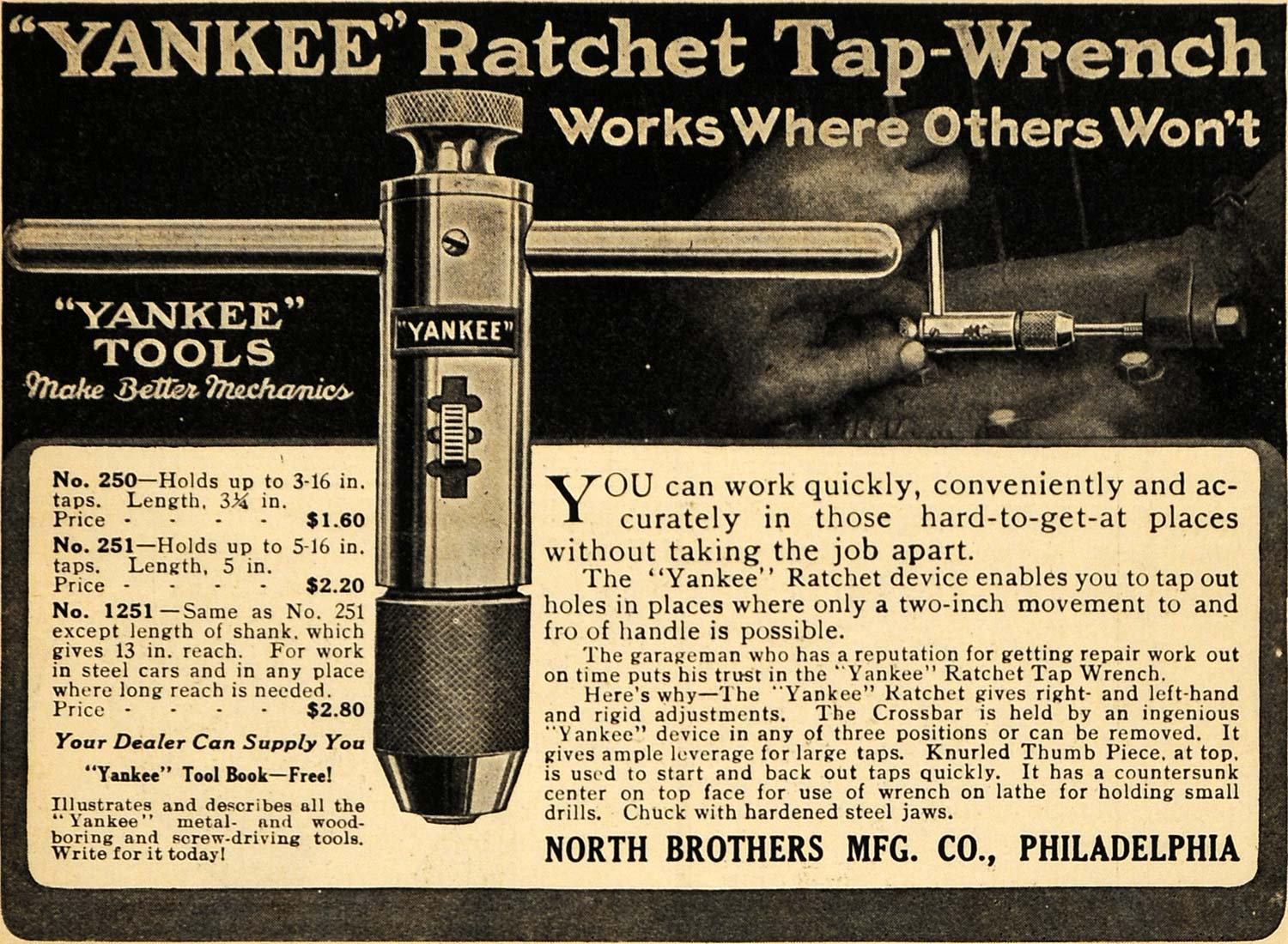 1917 Ad North Bros Yankee Ratchet Tap-Wrench Models WWI - ORIGINAL ILW1