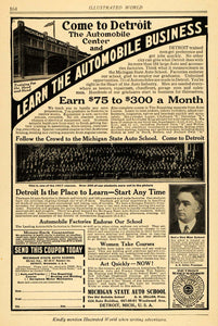 1918 Ad Michigan State Auto School Army Airplanes Titan - ORIGINAL ILW1