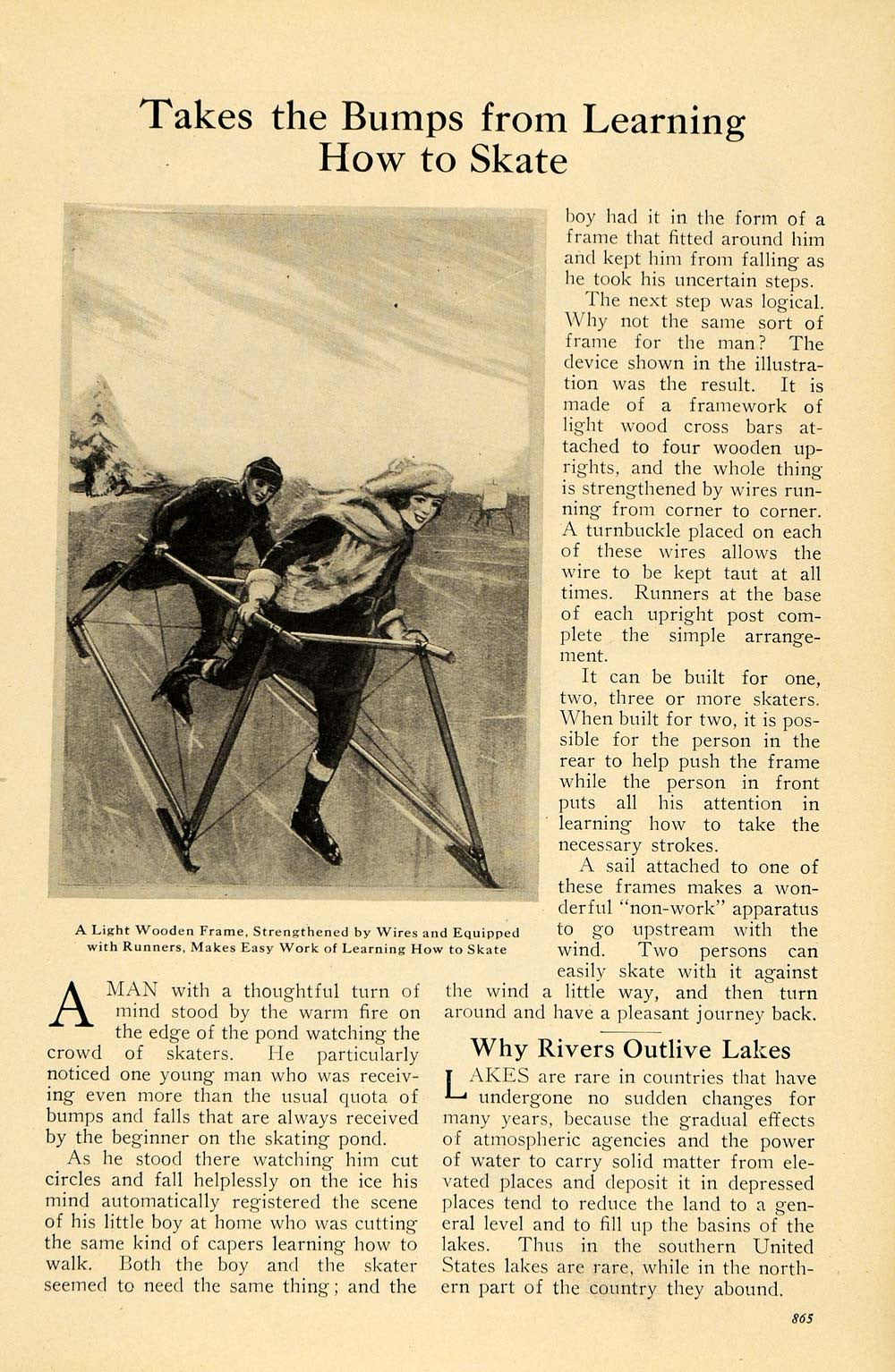 1922 Cover Illustrated World Ice Skating Frame UNUSUAL - ORIGINAL ILW1 - Period Paper  - 2