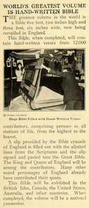 1920 Print Huge Bible Hand Written Verse England Script ORIGINAL HISTORIC ILW2