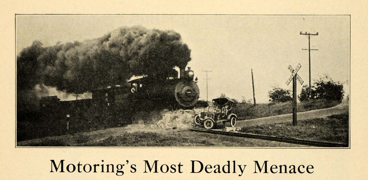 1922 Print Oncoming Train Stalled Car Tracks Collision ORIGINAL HISTORIC ILW2