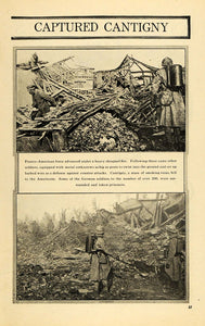 1918 Print American French Armies Attack Cantigny WWI - ORIGINAL HISTORIC ILW2