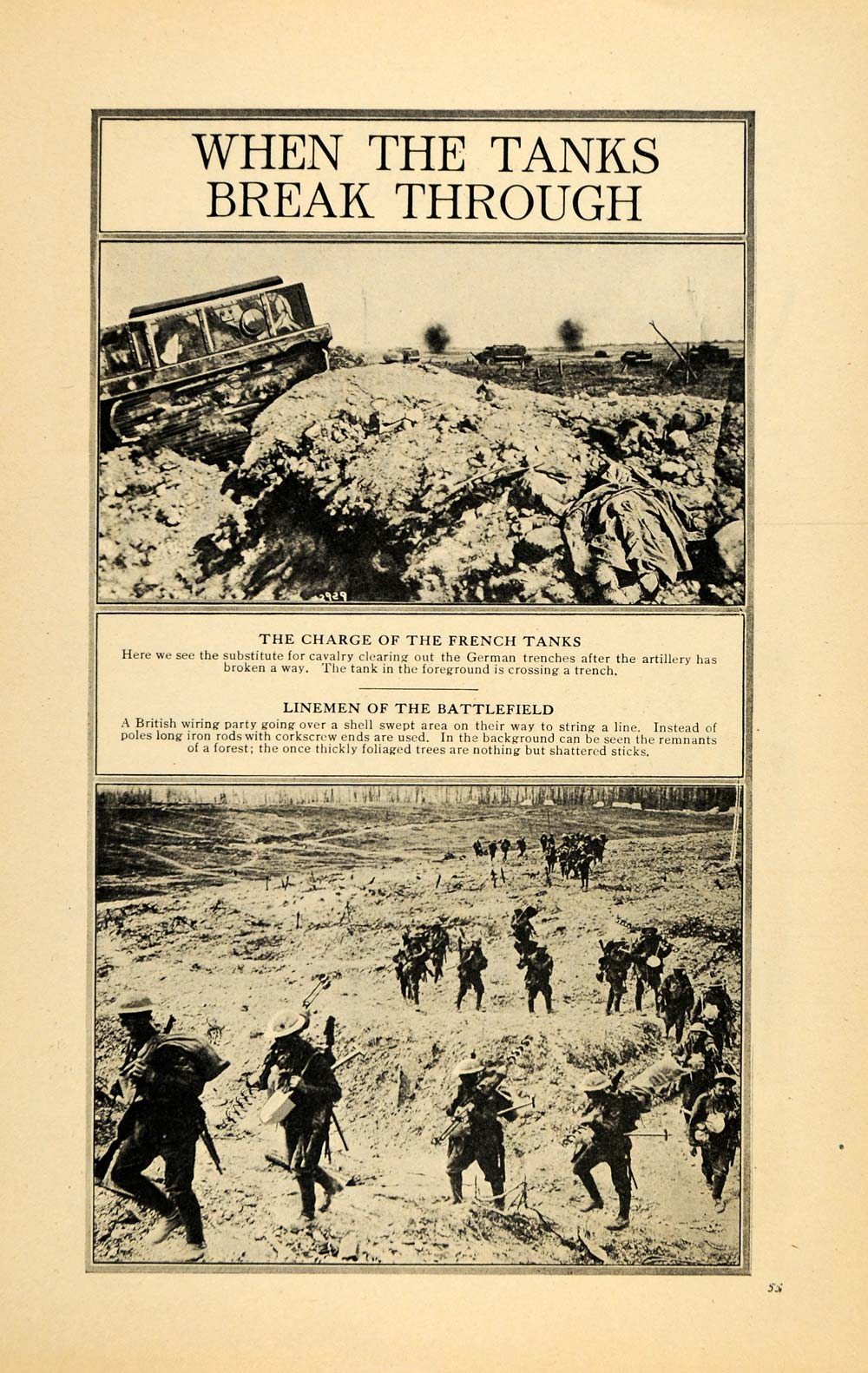1917 Print French Tanks Charge Enemy German Line WWI - ORIGINAL HISTORIC ILW2