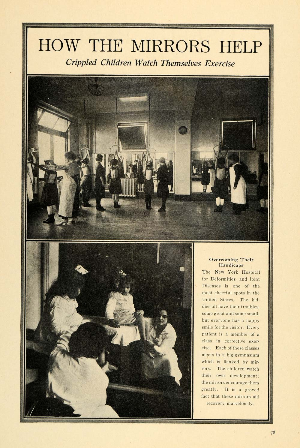 1917 Print New York Deformity Hospital Children Mirrors ORIGINAL HISTORIC ILW2