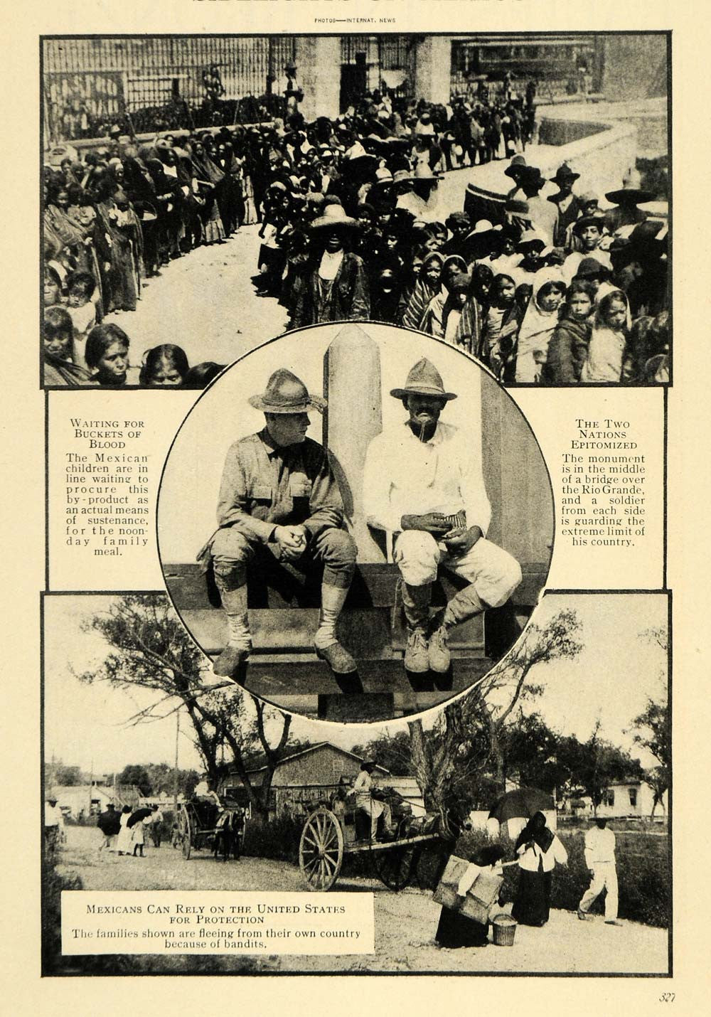 1915 Print Mexican Children Rio Grande Soldier Blood - ORIGINAL HISTORIC ILW2 - Period Paper