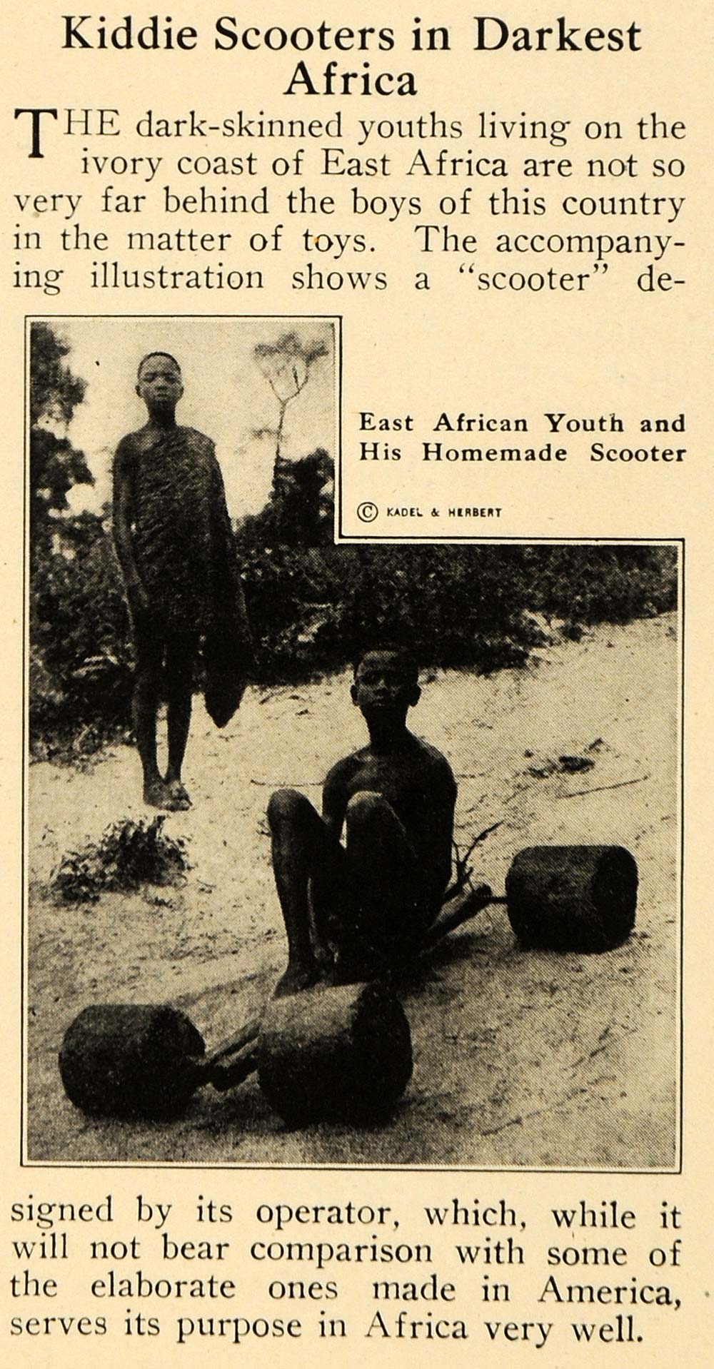 1921 Print Child Scooter Africa Ivory Coast Toy Games ORIGINAL HISTORIC ILW2