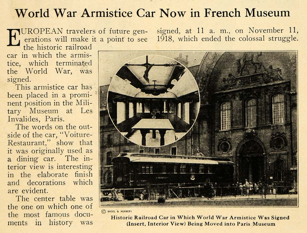 1921 Print World War Armistice Car French Museum Paris ORIGINAL HISTORIC ILW2