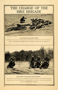 1917 Print Bike Brigade Motorcycle Horse Enemy Police - ORIGINAL HISTORIC ILW2 - Period Paper