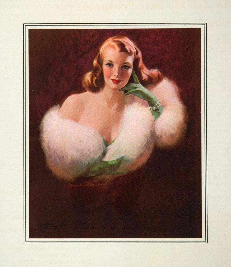 1953 Print Portrait Blonde Woman White Fur Stole Green Gloves Fashion IMAGES