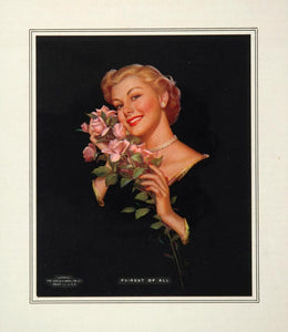1953 Blond Woman Black Dress Pink Roses Bouquet Print - ORIGINAL IMAGES