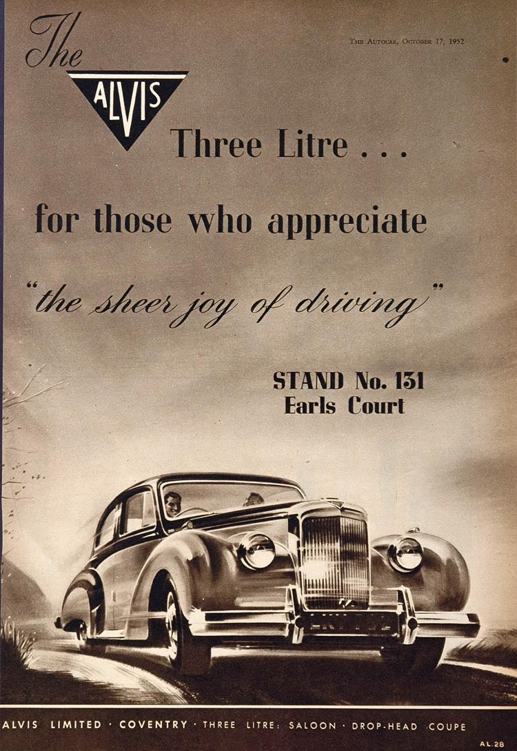 1952 Ad Vintage Alvis Car Saloon Sedan Coupe British - ORIGINAL ADVERTISING