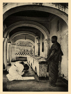 1929 Photogravure Buddhism Buddhist Monastery Sri Lanka Ceylon Prayer Monks