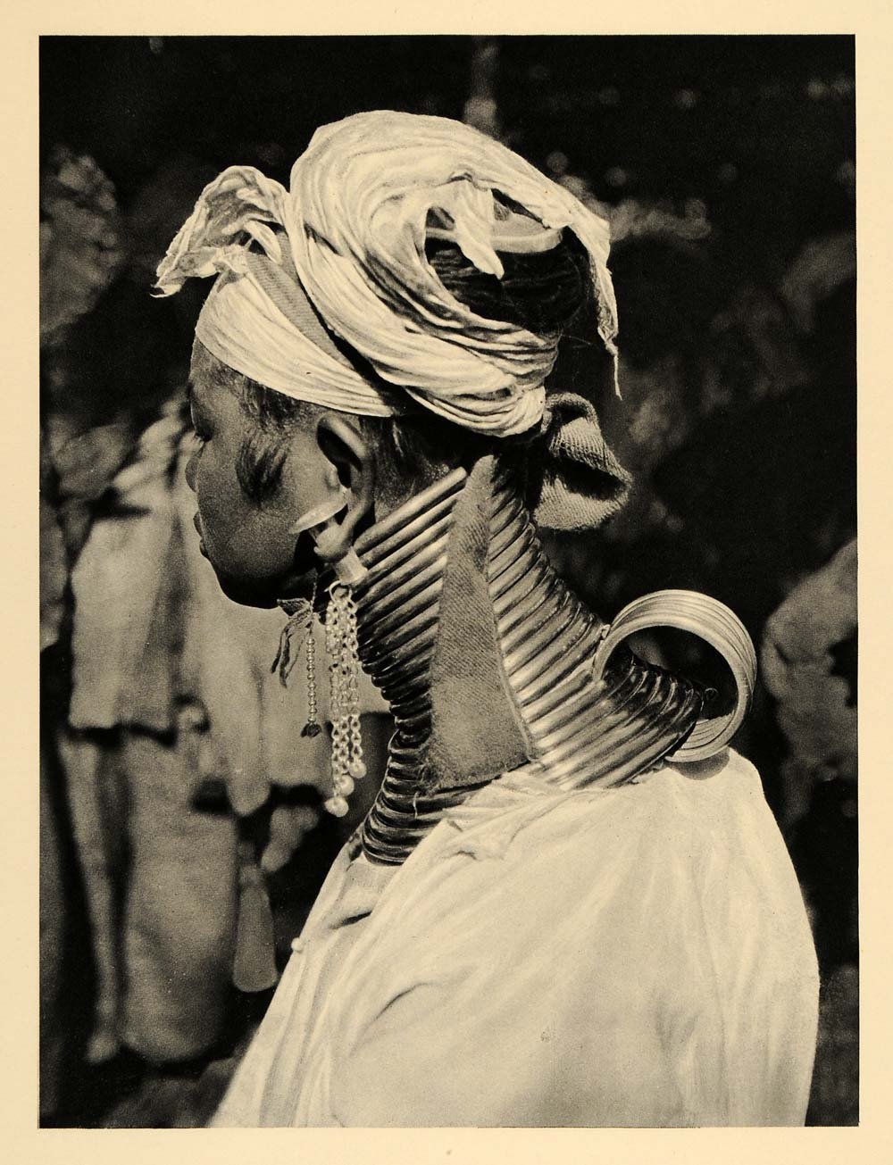 1929 Photogravure Kayan Lahwi Woman Portrait Long Neck Brass Coils Padaung Burma