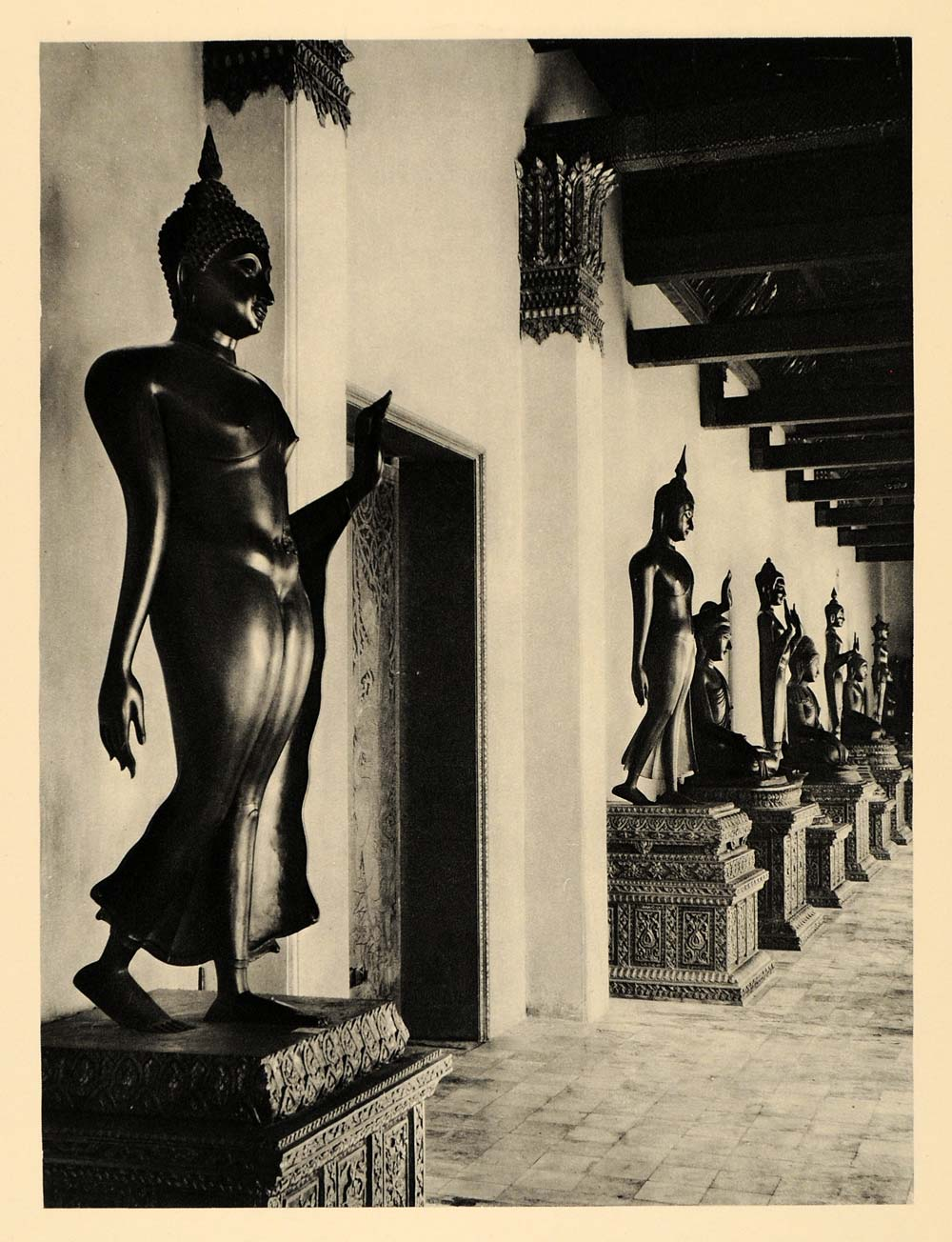 1929 Photogravure Wat Benchamabophit Marble Temple Statues Bangkok Thailand Siam