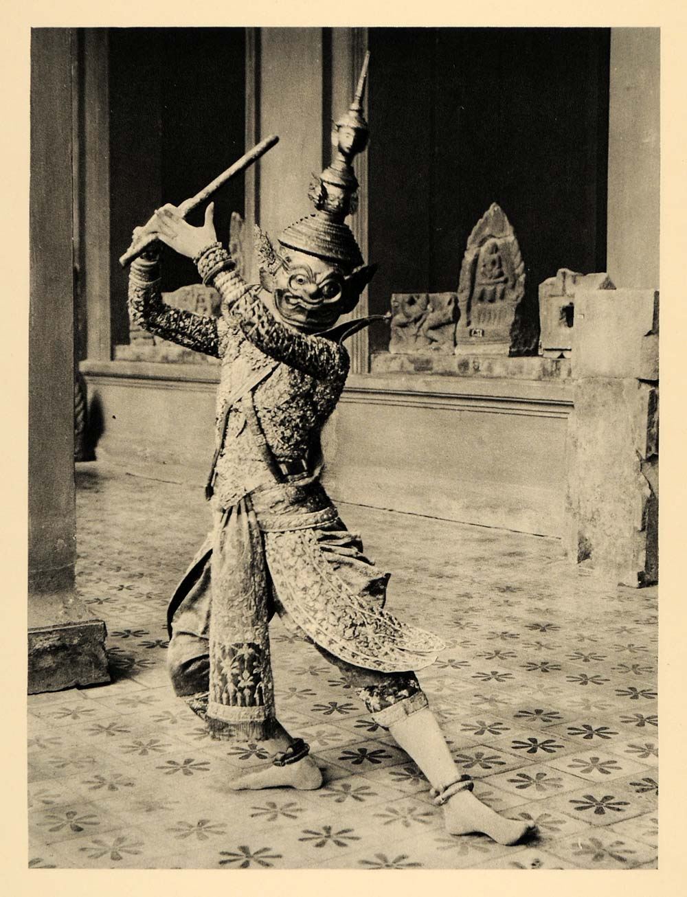 1929 Photogravure Demon Prince Dancer Cambodia Dance Costume Mask Kampuchea