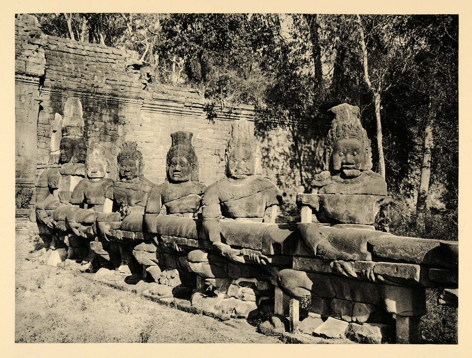 1929 Photogravure Angkor Thom Cambodia Victory Gate Watchmen Warriers Sculpture