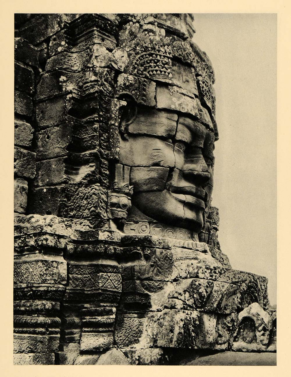 1929 Photogravure Angkor Thom Cambodia Bayon Temple Sculpture Face Archaeology