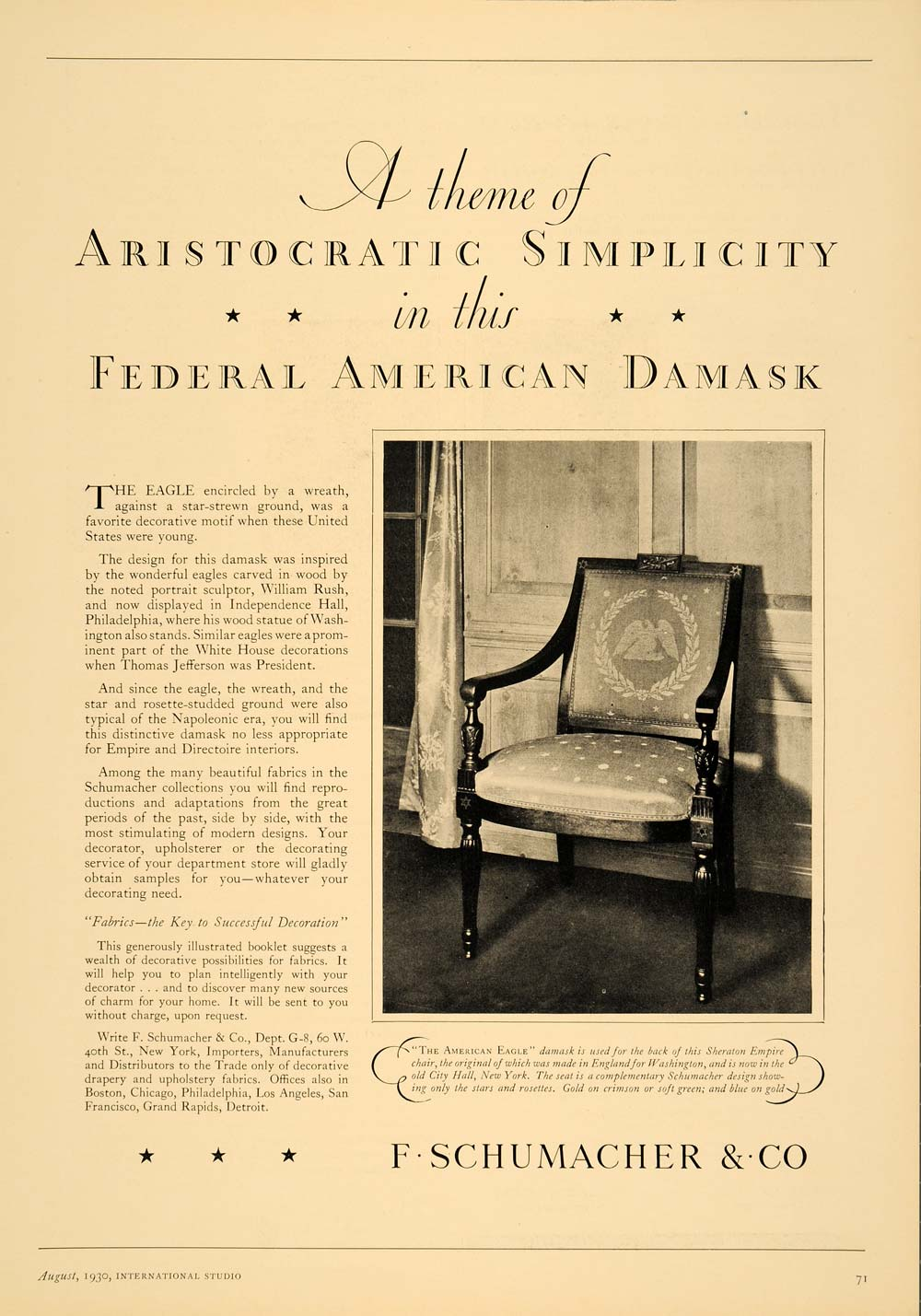 1930 Ad F. Schumacher Fabric American Eagle Damask - ORIGINAL ADVERTISING INS1