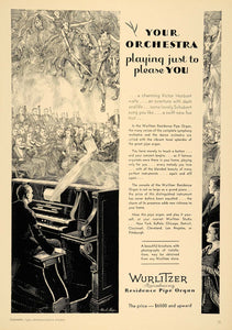 1930 Ad Wurlitzer Residence Pipe Organ Orchestra NICE - ORIGINAL INS1