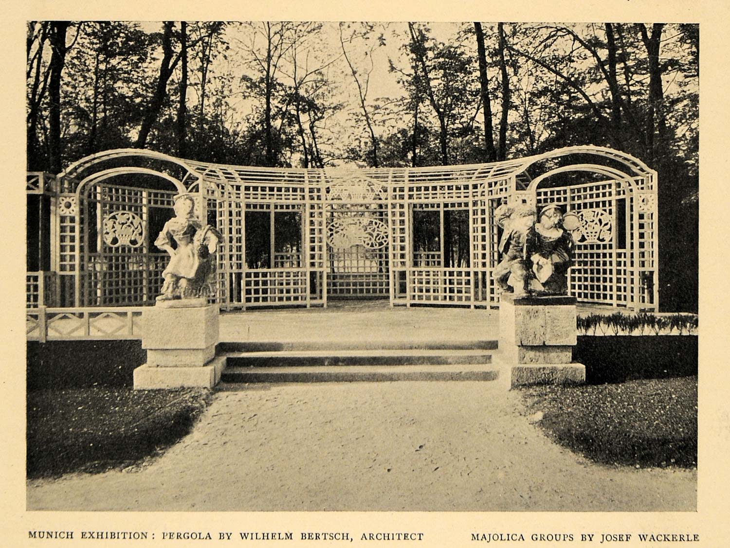 1908 Print Munich Exhibition Pergola Architect Majolica ORIGINAL HISTORIC INS2
