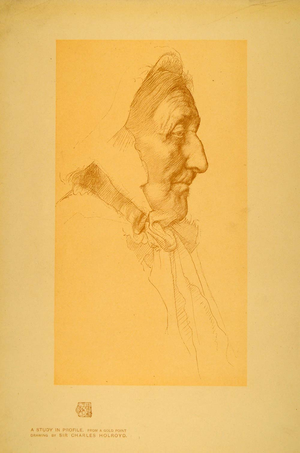 1908 Print Study Profile Gold Point Drawing Old Women - ORIGINAL INS2