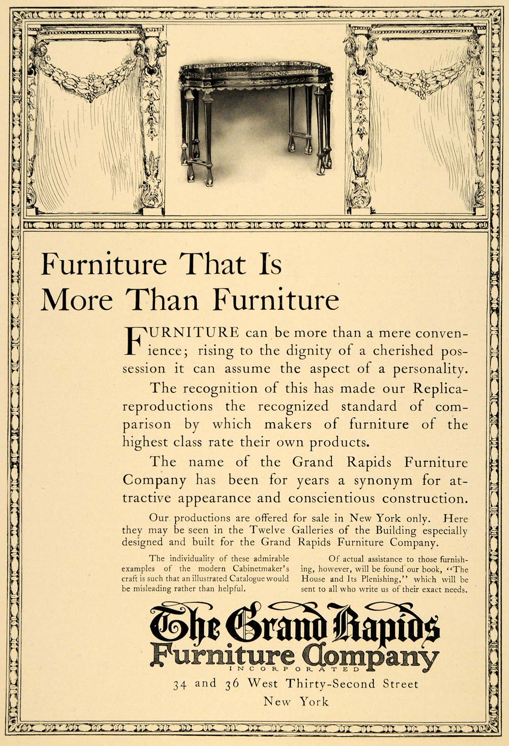 1910 Ad Furniture Table Chairs Household Grand Rapids - ORIGINAL INS2