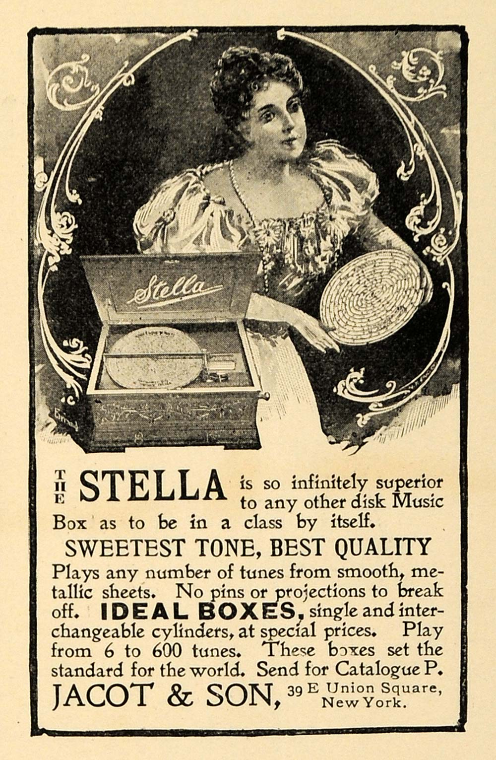 1898 Ad Stella Music Box Tone Quality Projection Tunes - ORIGINAL INS2