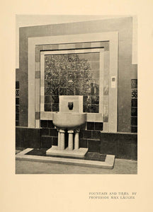 1900 Print German Architect Max Lauger Fountain Tiling ORIGINAL HISTORIC INS2