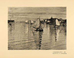 1899 Print Dordrecht Water Waves Sailboat Ripples Art ORIGINAL HISTORIC INS2