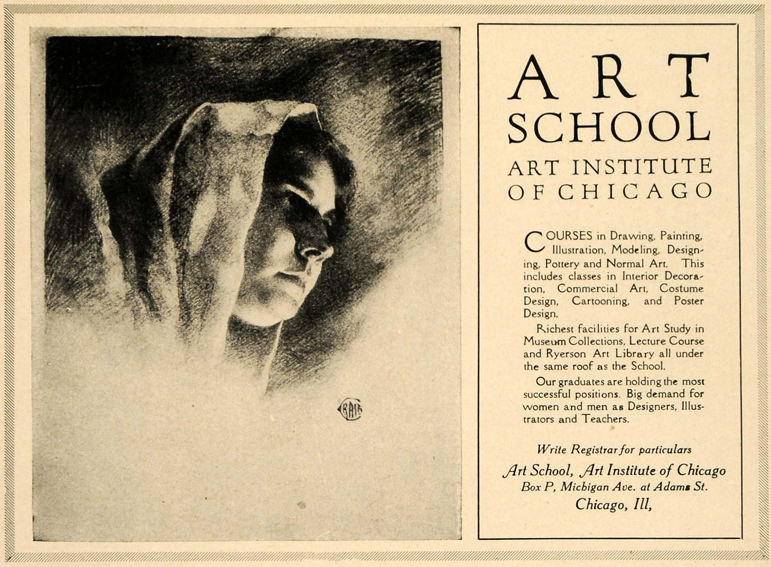 1920 Ad Art School Institute Chicago Draw Paint Models - ORIGINAL INS2