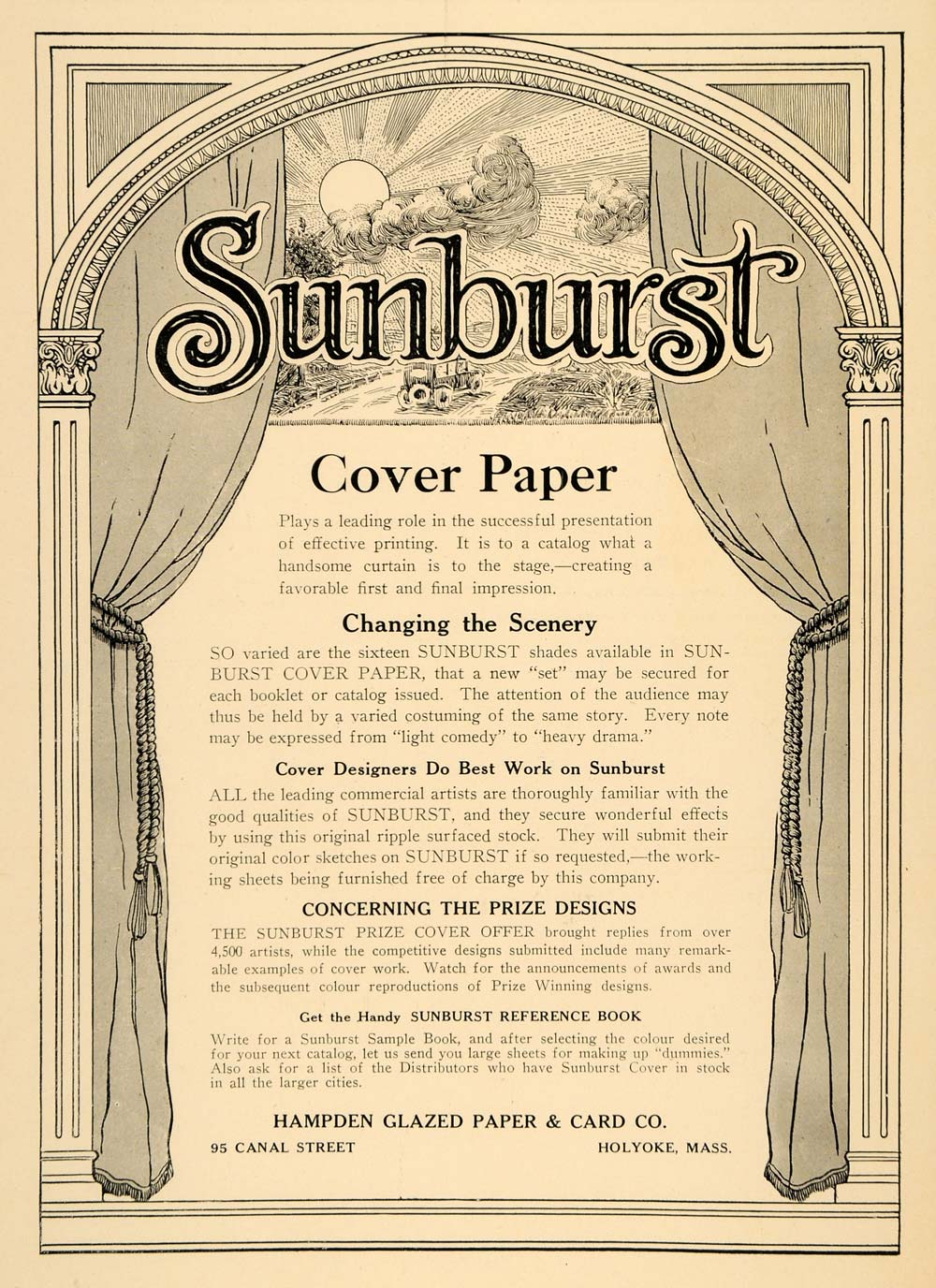 1921 Ad Sunburst Cover Paper Booklet Design Glazed Art - ORIGINAL INS2