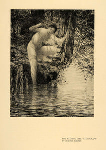 1920 Print Bathing Girl Nude Tree Wood Water Lithograph ORIGINAL HISTORIC INS2